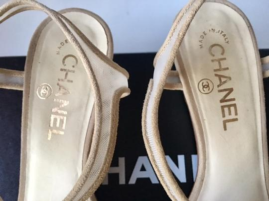 Chanel Tstrap Camellia Cc Wedge Ankle Strap Beige Sandals