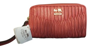 Coach Madison Gathered Leather EW Universal Case/Wristlet Style#64998 Coral