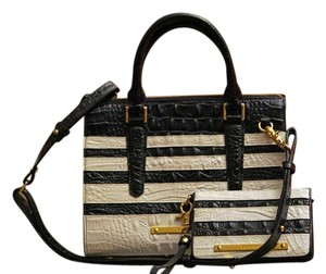 Brahmin Leather Crocodile Striped Satchel in Black and White