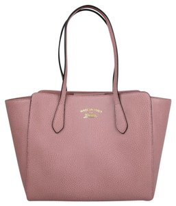 Gucci Leather Small Swing Tote in Soft Pink