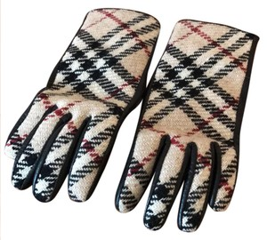 Burberry plaid wool and leather gloves