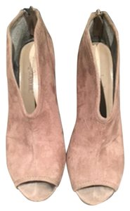 Charming Charlie Peep Toes Suede Nude and Brown Pumps