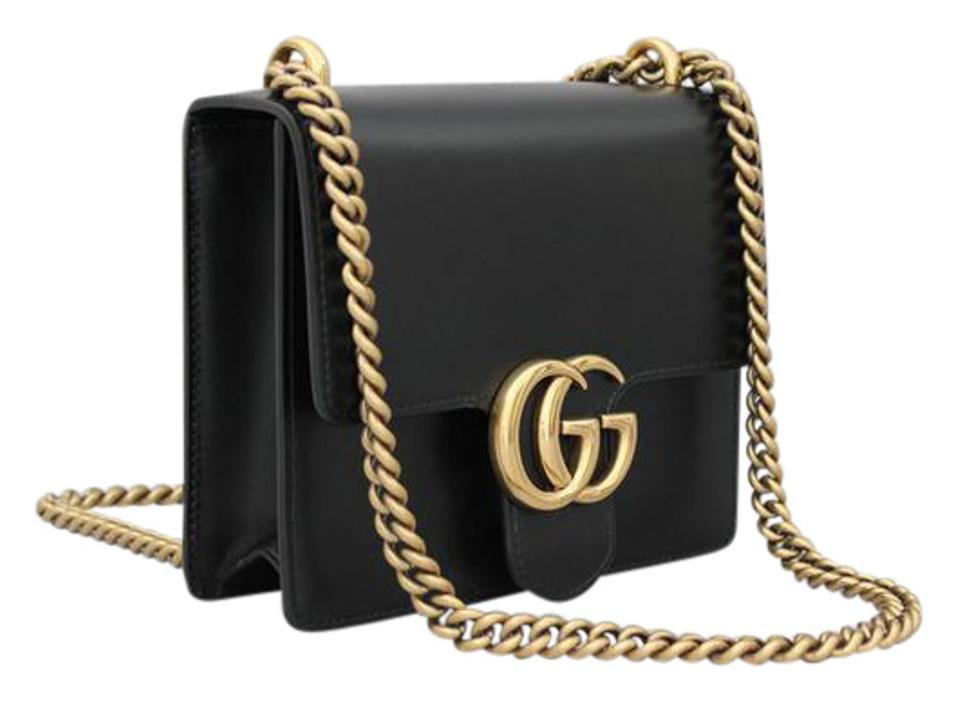 b8b35960ed8f Gucci Marmont Never Carried Small Gg Chain Black Leather Shoulder ...
