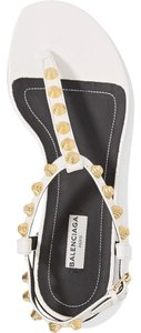 Balenciaga New T-strap Studded white Sandals