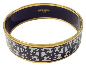 Herms Wide Black / White Bangle With Gold