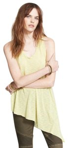 Free People Dream On Sleeveless Lime Asymmetrical Racer-back Top YELLOW