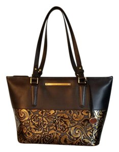 Brahmin Tote in Black with Gold Flowers