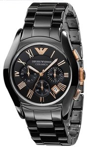 Emporio Armani 100% New Emporio Armani Mens Black Rose Gold Ceramic Watch AR1410
