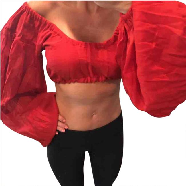 Preload https://img-static.tradesy.com/item/21165913/red-puffy-sleeve-blouse-size-8-m-0-1-650-650.jpg