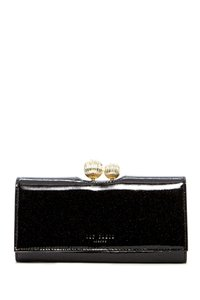 Ted Baker ETCHED BOBBLE LARGE GLITTER BLACK WALLET NWT