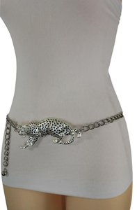 Other Women Hip Waist Silver Metal Fashion Chain Links Belt Tiger Buckle