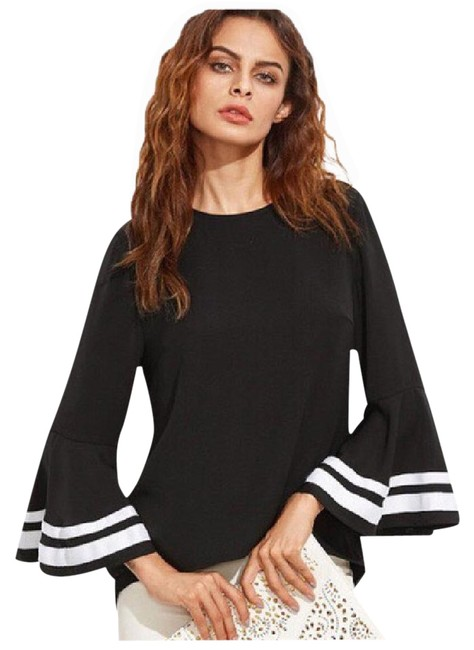 Preload https://img-static.tradesy.com/item/21165954/black-and-white-belle-sleeve-high-low-d19-blouse-size-4-s-0-1-650-650.jpg