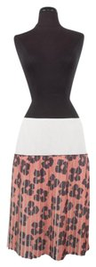 Dries van Noten Floral Pleated Skirt Peach, Black and White
