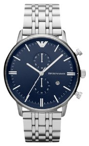 Emporio Armani 100% NEW IN BOX EMPORIO ARMANI MENS WATCH AR1648 NAVY BLUE DIAL CHRONO