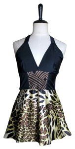 Lisa Nieves Satin Party Animal Print Black/gold/copper Halter Top