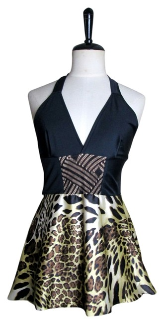 Lisa Nieves Animal Print Date Night Peplum Casual Empire Waist Black/gold/copper Halter Top