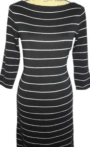 Lauren Ralph Lauren Silver Metallic Striped 3/4 Sleeve Stretchy Knee Length Dress