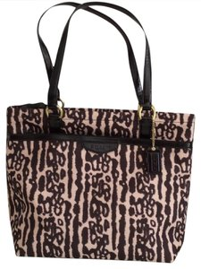 Coach Nwt New With Tags Leopard Print Fabric Tote in Black / Light Tan