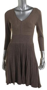 Studio M short dress Brown Sweater Lightweight 3/4 Sleeve Fit And Flare on Tradesy
