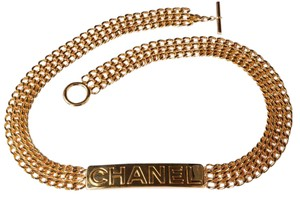 Chanel Womens Goldtone Gold Multi-Chain Nameplate Toggle Jewelry Belt