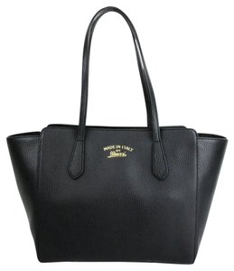 Gucci Leather Small Swing Tote in Black
