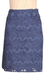 Cynthia Rowley Pencil Eyelet Embroidered Floral Mini Skirt BLUE