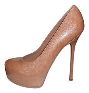 Saint Laurent Ysl Platform Tribtoo Heels Patent Leather Clay (nude with a hint of pink) Pumps