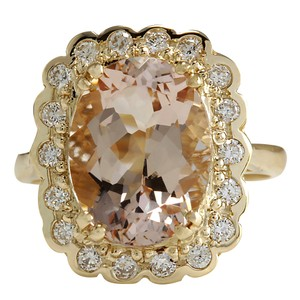 Fashion Strada 5.07 Carat Natural Morganite 14K Yellow Gold Diamond Ring