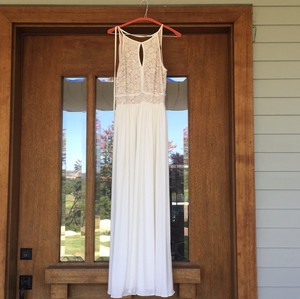 Morgan & Co Cream/white Sequined Lace Gown Dress