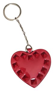 Valentino Punkcouture Red patent leather Heart keychain