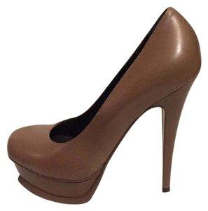 Saint Laurent Ysl Platform Tribtoo Heels Tribute Light Brown Pumps