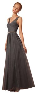 BHLDN Pewter Nylon Tulle Lace Fleur Formal Bridesmaid/Mob Dress Size 0 (XS)