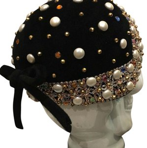 Saint Laurent Velvet & Jeweled Fitted Cap Hat