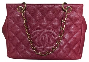 Chanel Quilted Chain Leather Satchel in Raspberry
