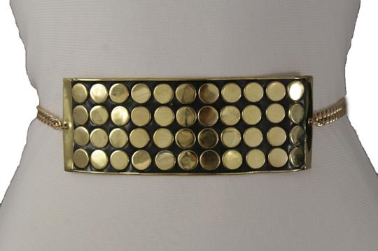 Other Women Gold Metal Chains Skinny Belt Square Polka Dots Black Plate