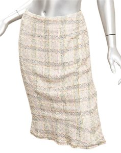 Chanel 05p Tweed Pencil Skirt CREAM