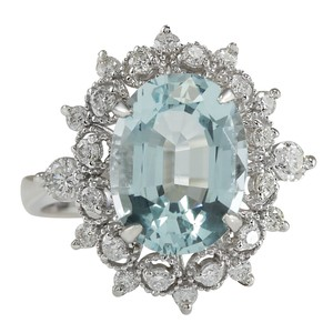 Fashion Strada 4.48CTW Natural Aquamarine And Diamond Ring In 14K Solid White Gold