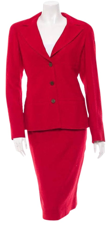 Chanel Red 98a Classic Womens Wool Tweed Jacket Blazer Pencil Skirt