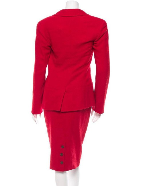 Chanel 98A Classic Womens Red Wool Tweed Jacket Blazer Pencil Skirt Suit