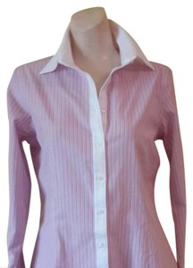 Brooks Brothers Tailored Fit Collar & Cuffs Stitching Button Down Shirt Rose & White