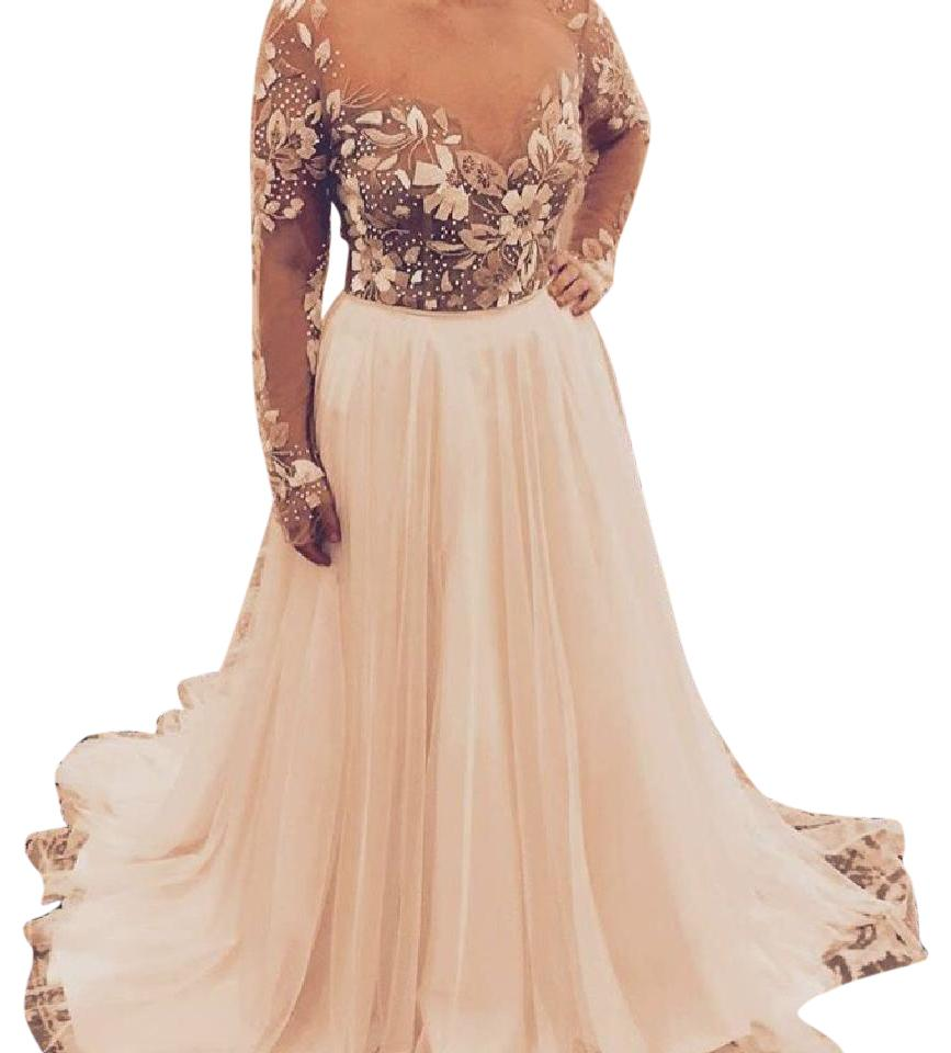 Hayley Paige Ivory And Blush Beaded Chiffon Remington Gown Formal Wedding Dress Size 8 M