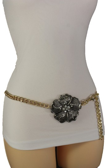 Other Women High Waist Hip Fashion Gold Metal Chains Narrow Belt Flower