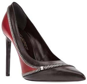 Saint Laurent Ysl Heels Tribute Paris Zip Black/Red Pumps