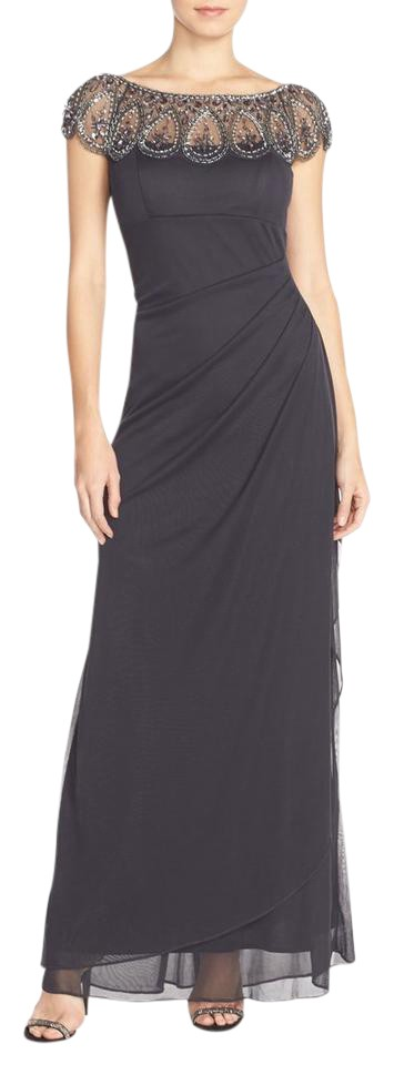 Xscape Charcoal Illusion Beaded Gown Long Formal Dress Size Petite ...