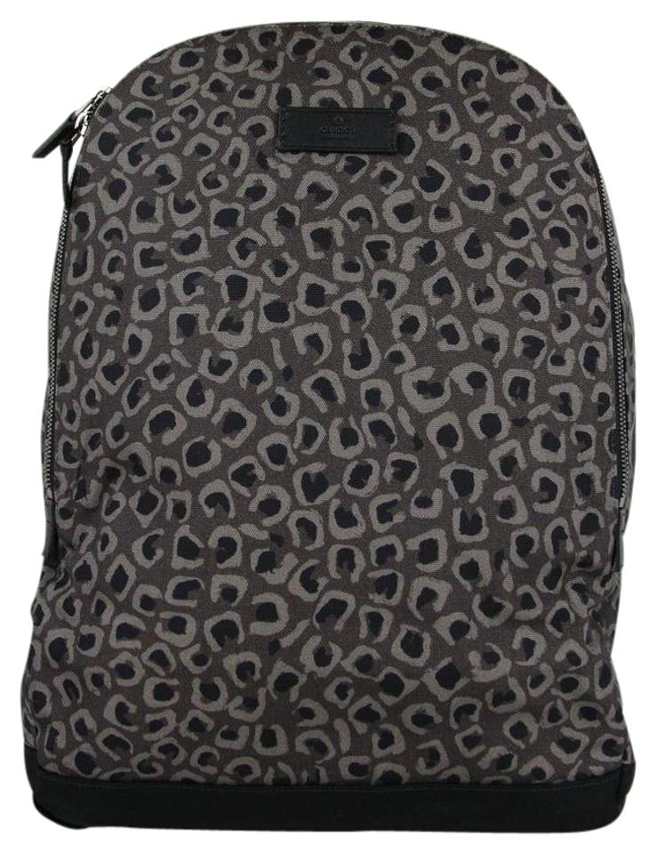 e3504656b0a7 Gucci Leopard Print Luggage 353476 1186 Dark Gray/Brown Canvas/Leather  Backpack