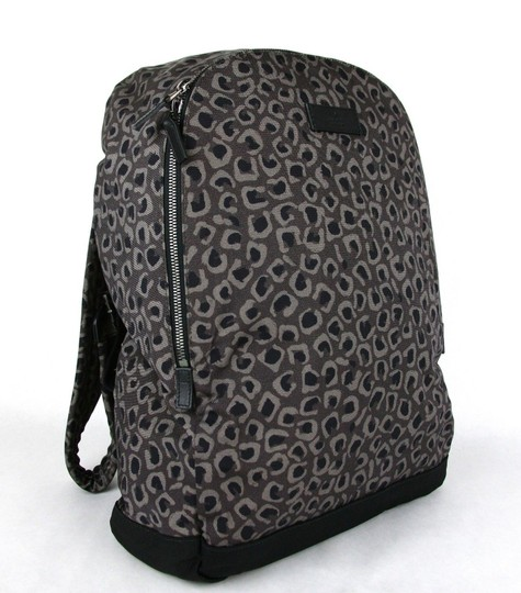 Gucci Gray/Brown Leopard Print Canvas Backpack