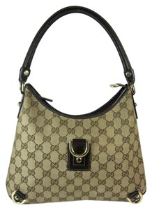 Gucci Brown Monogram Gg Leather Tote Shoulder Bag