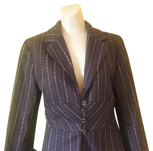 J. Jill Wool Blend Pin-stripe Pattern Brown Blazer