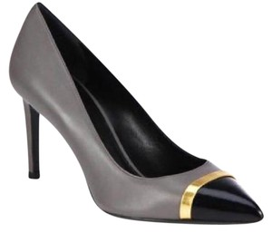 Saint Laurent Ysl Heels Tribute Paris Cap Toe Grey/Black Pumps