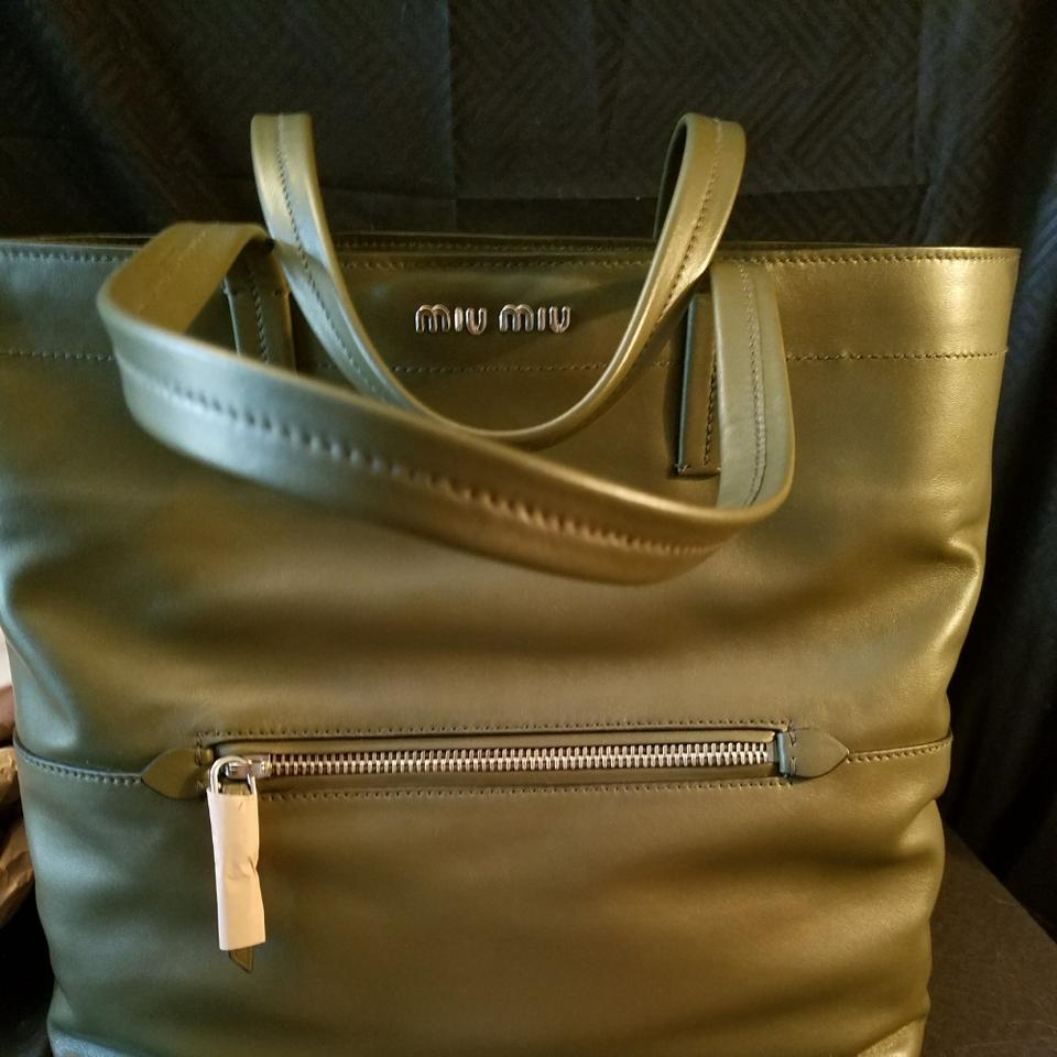 27a1df57b716 Miu Miu Rr1934 Prada Vitello Lrg Militare Green Leather Tote - Tradesy